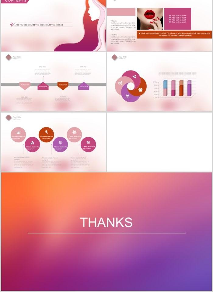 Dazzling beauty salon PPT template PowerPoint Templates- GGRET