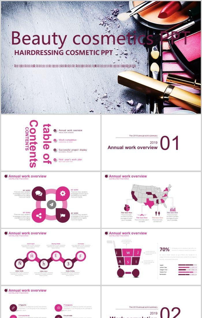 beauty salon fashion art cosmetic ppt template powerpoint