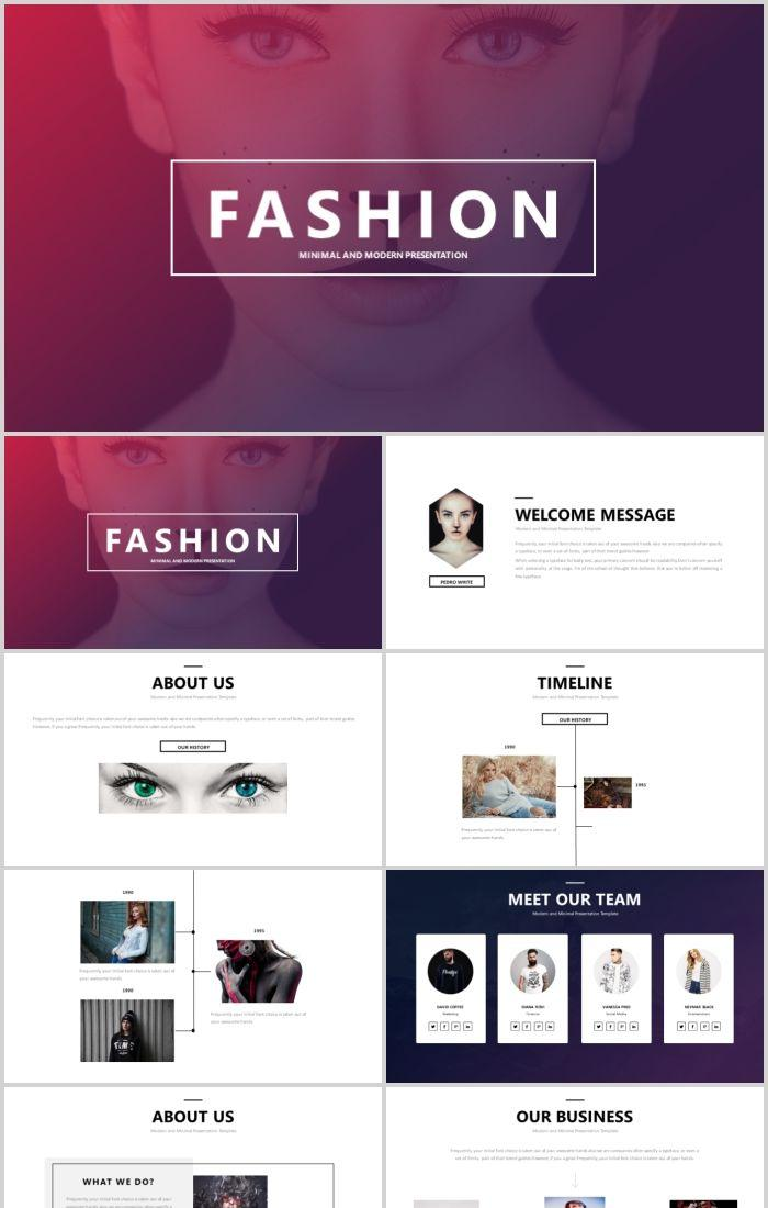 European simple fashion brand PPT template PowerPoint