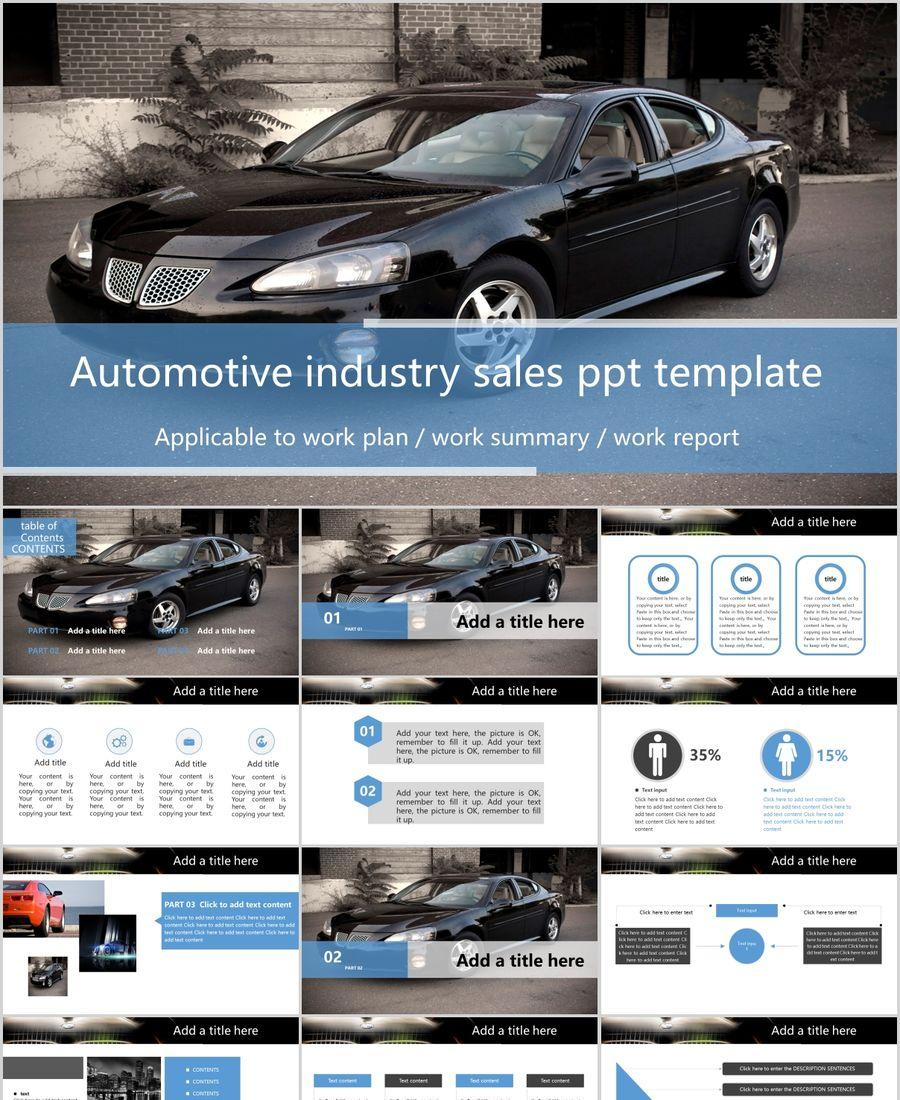 Black fashion car industry PPT template download PowerPoint